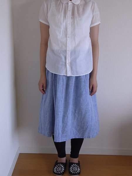 「ハンドメイド シャンブレーリネン ギャザースカート」をYahoo!オークションに出品してみた!
